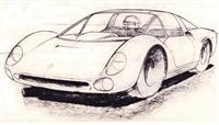 Very early Pininfarina 'Dino Fiat' Spider design (1965) pencil drawing